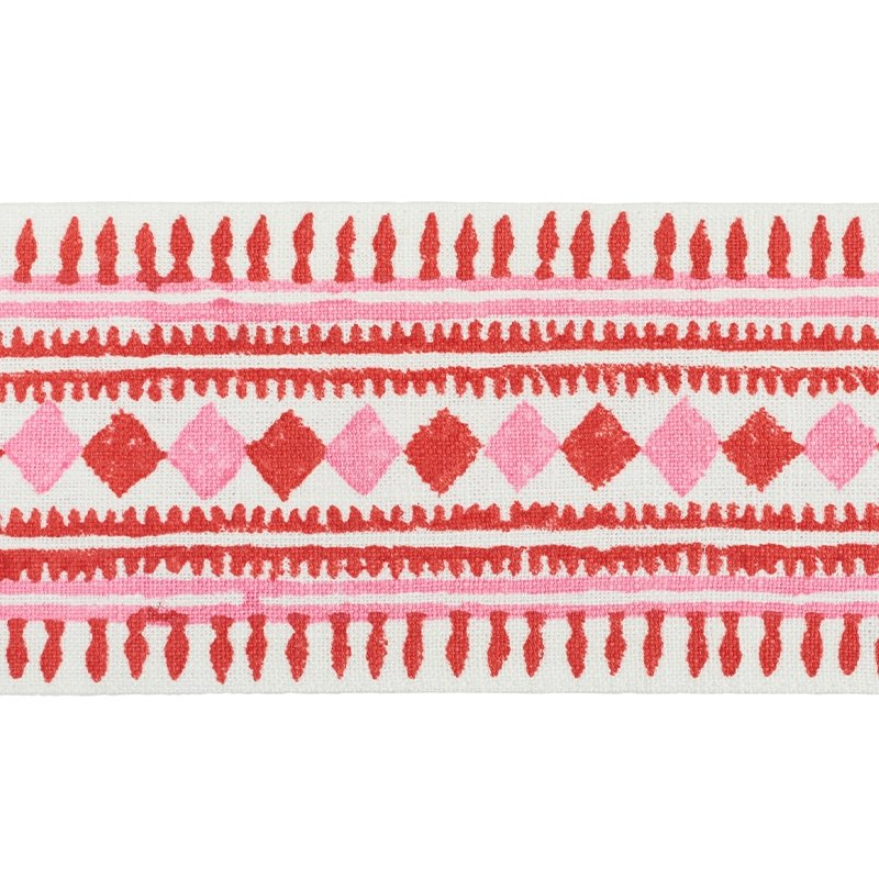 77331 Toula Hand Blocked Linen Tape, Red and Pink