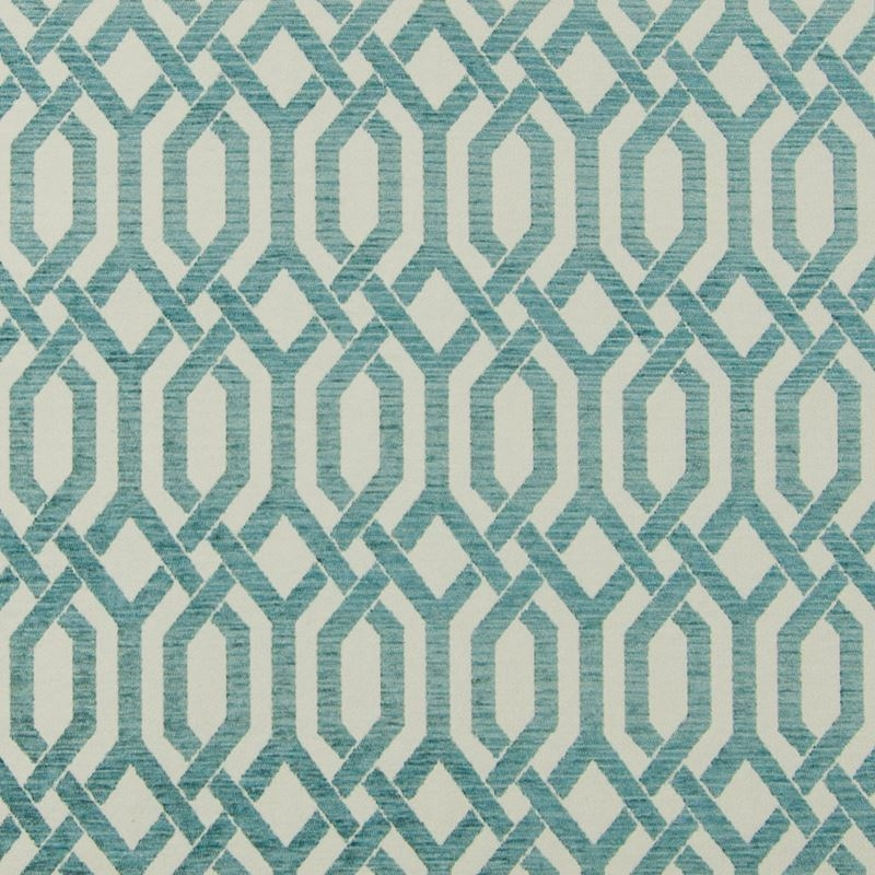 B7603 Turquoise, Teal Geometric Upholstery by Gree