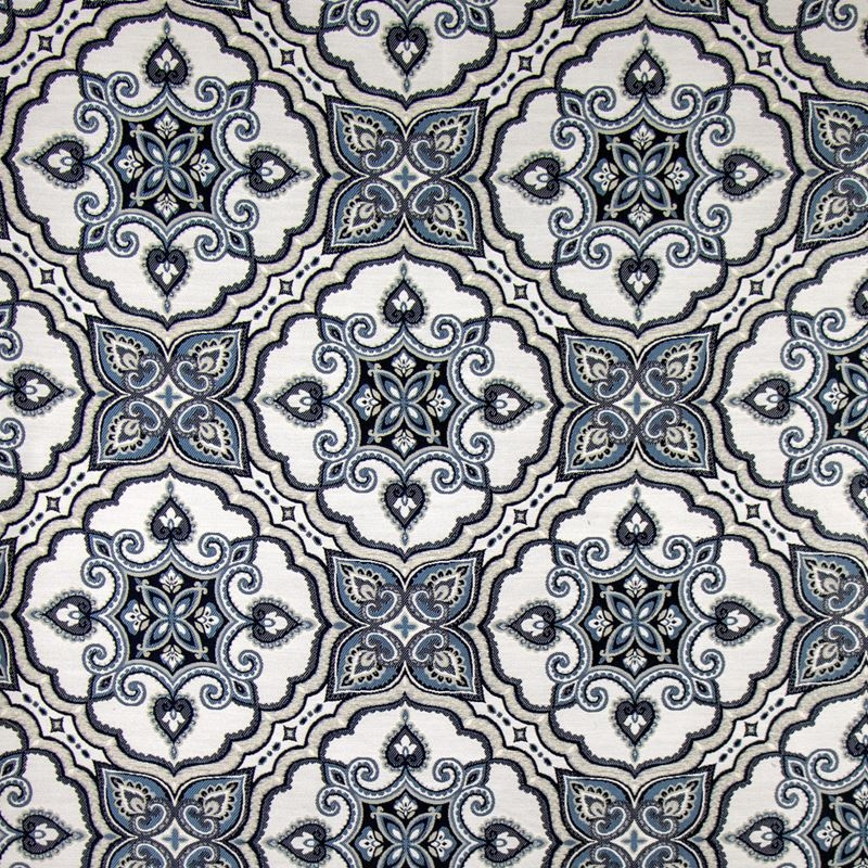 B9810 Indigo, Blue Floral Upholstery Fabric by Gre