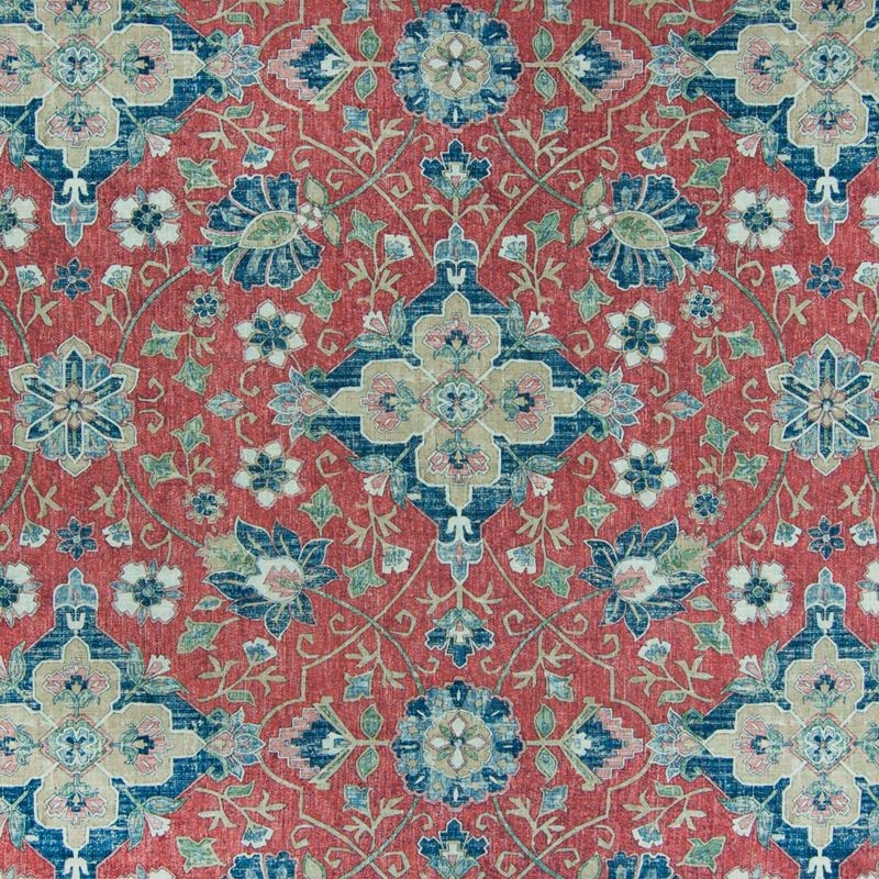 B6819 Vintage Red, Red Medallion Upholstery by Gre