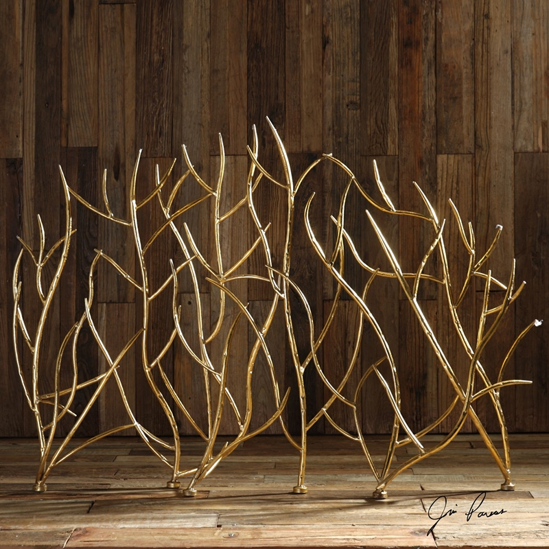 18796 Uttermost Gold Branches Decorative Fireplace