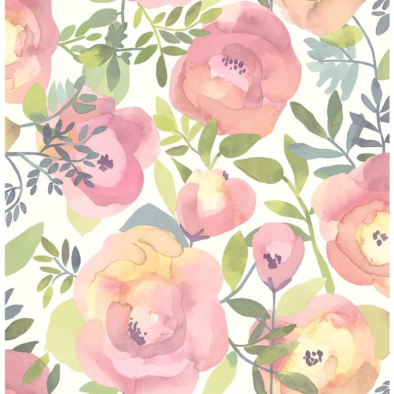 NU3035 Peachy Keen Pink, Flowers Peel and Stick Wa