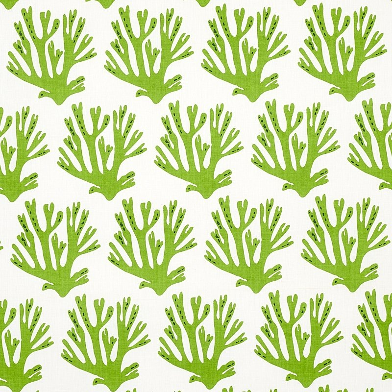 179101 Coral, Green by Schumacher Fabric