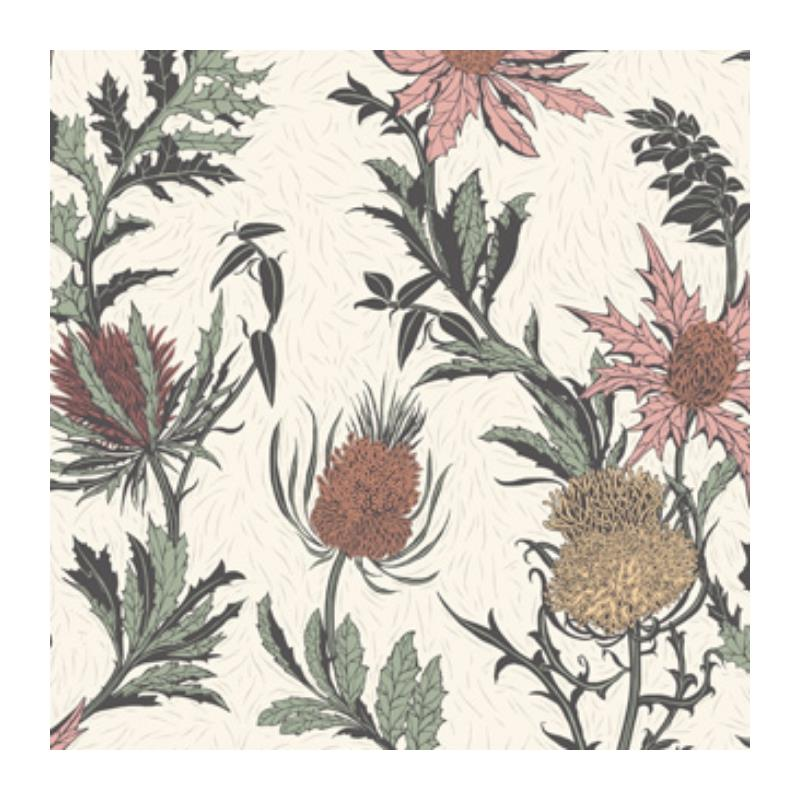 115-14043 Thistle, A Pink Orange Parch Print by Co