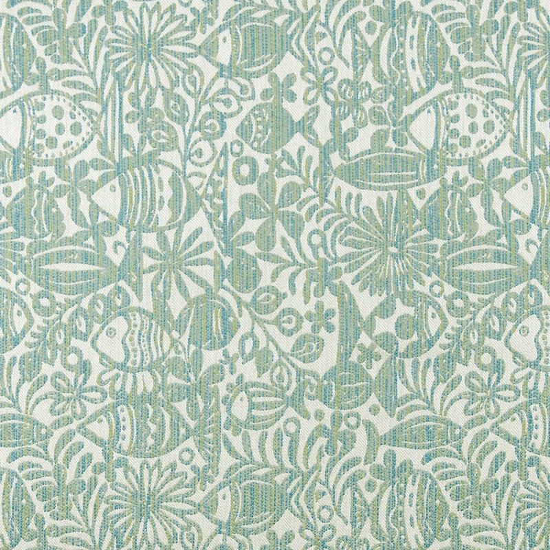 A8044 Isle Waters, Teal Tropical Upholstery by Gre
