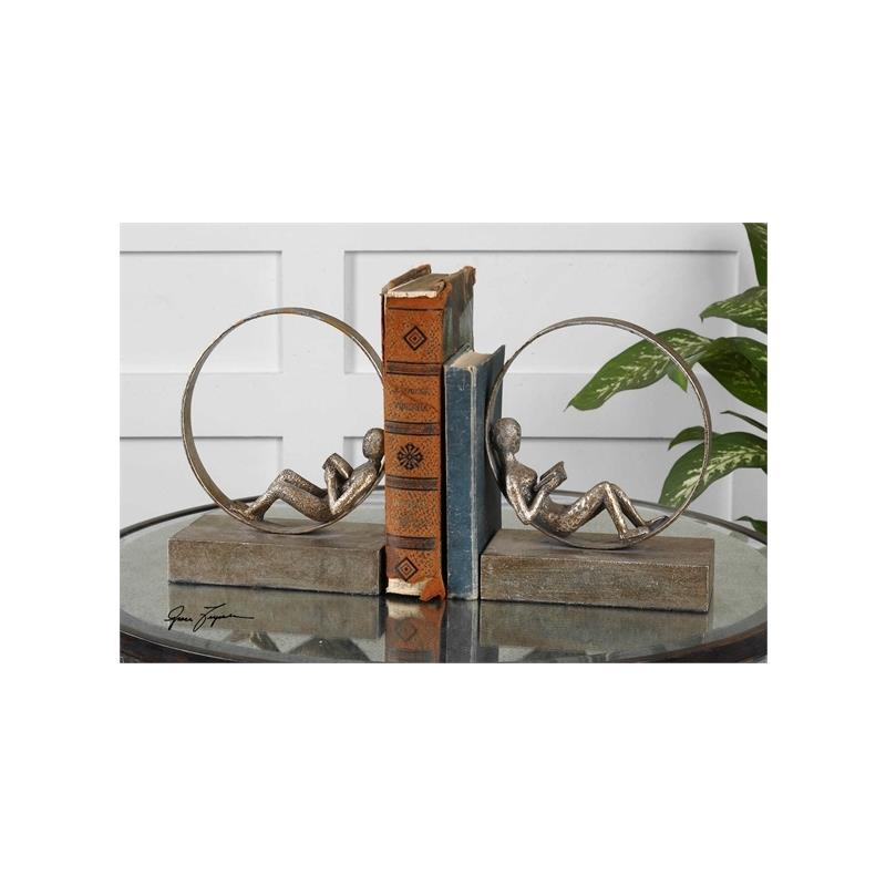19596 Lounging Reader Bookends S/2 by Uttermost