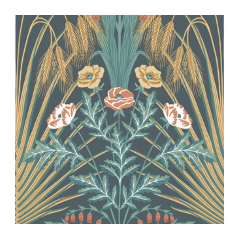 115-3010 Bluebell, Teal Gold Petrol Print by Cole