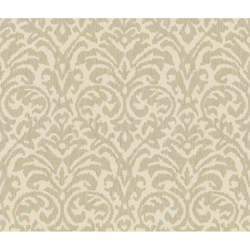 32051.11.0 Ikat Damask Dove White Upholstery Conte