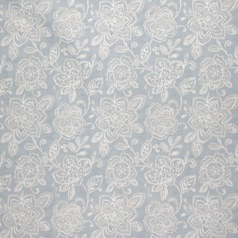 F1509 Aluminum, Blue Floral Upholstery Fabric by G