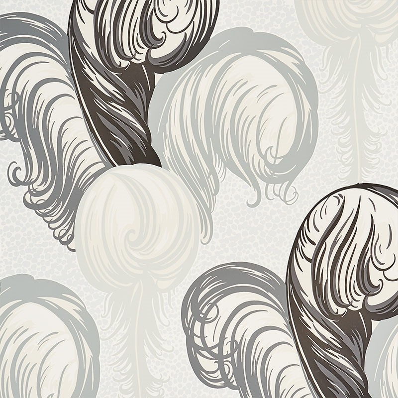 5009151 Plumes Grisaille by Schumacher Wallpaper
