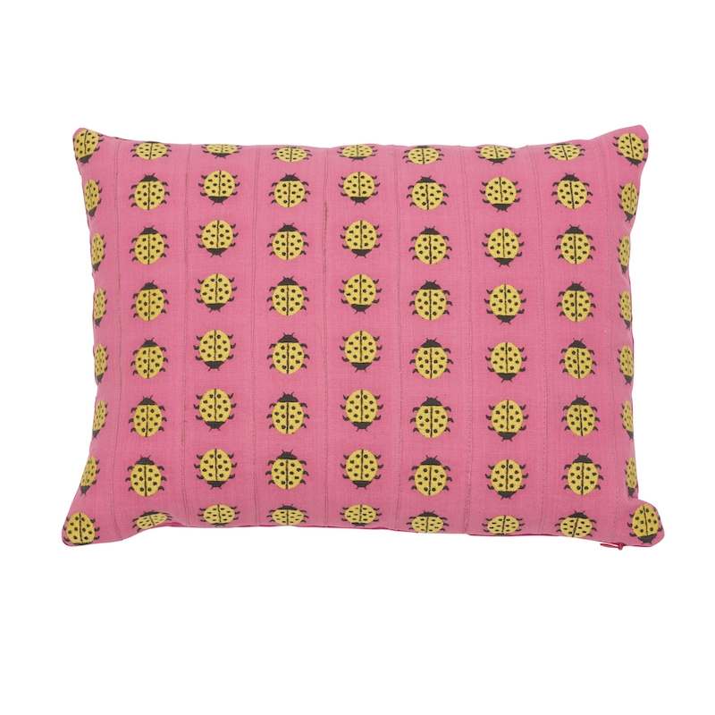 So7739110 Ladybird Pillow, Yellow and Pink By Schu