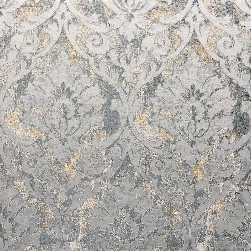 8769 Tanya Pyrite, Green Damask Bedding Fabric by