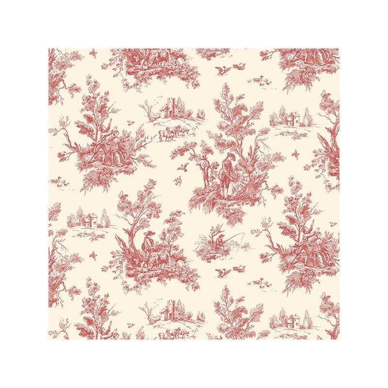 AB27657 Flourish Abby Rose 4, Red Toile Wallpaper