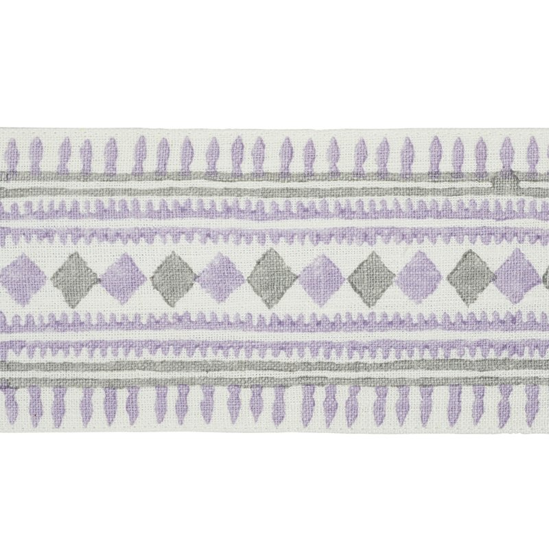 77332 Toula Hand Blocked Linen Tape, Lilac and Gre