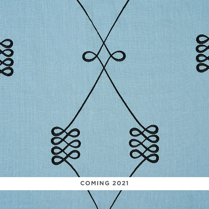 78202 Nicolette Embroidery, Dusty Blue by Schumach